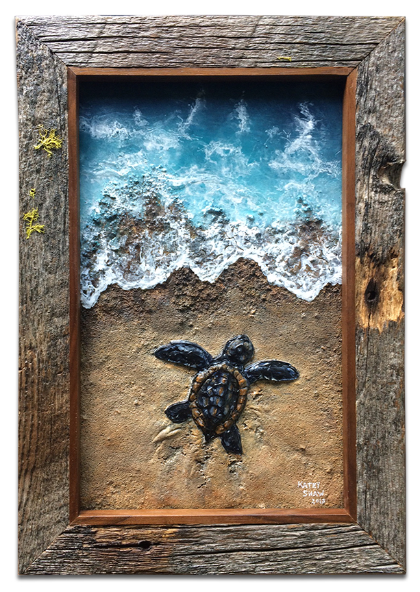 Textured baby sea turtle with real sand