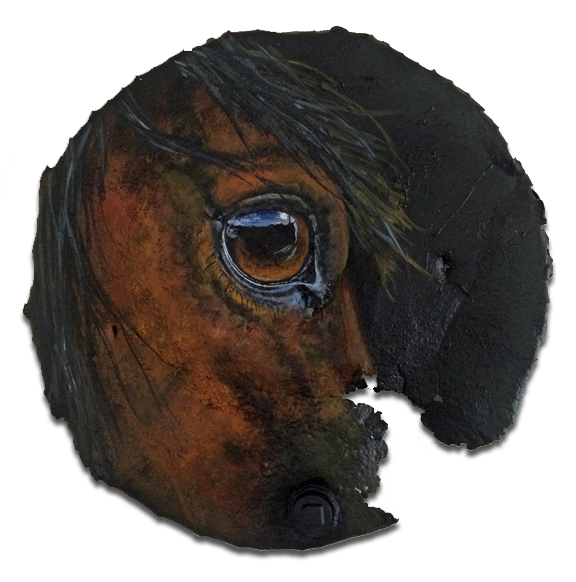 55 gallon rusted metal lid with horse eye