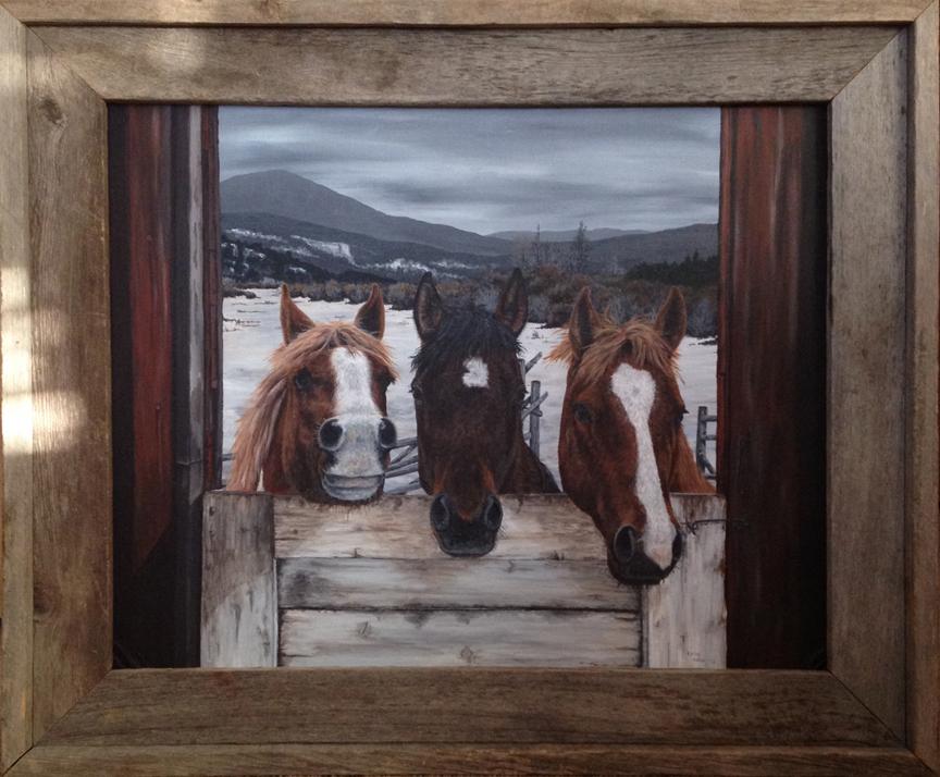 Trio of horses looking in barn door