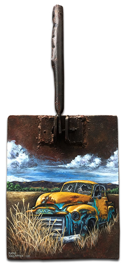 """GMC truck on rusty metal - Overall size is 10"""" x 23"""" - Paddle is 10"""" x 13"""""""