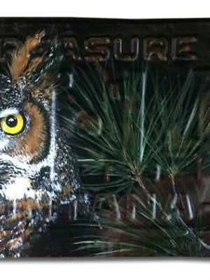 1953 Montana license plate with great horned owl in acyrlic