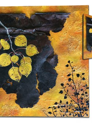 """Rusty metal on textured and painted board with fall aspen branch - 10"""" x 10"""" x .75"""""""