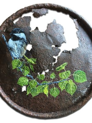 Chickadee on aspen branch painted on old rusted lid