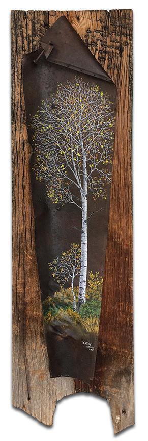 Aspen scene on rusted metal mounted on barnwood