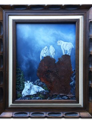 """""""Is she looking?"""" Baby mountain goats on rusted metal as rocks"""