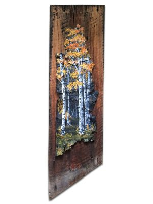 Rusted metal with aspen scene mounted on old barnwood