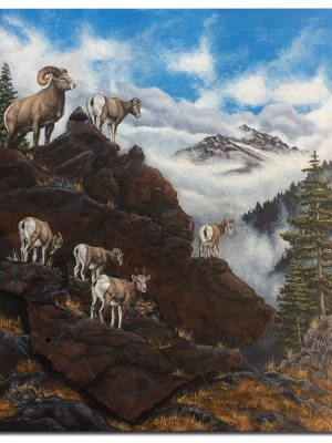 "Bighorn sheep on rusted metal rock cliff 16"" x 20"" x 1.75"""