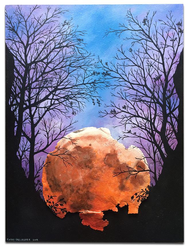 "Blood moon on rusted Blood moon on rusted metal lid on 18"" x 20"" x 2"" boardmetal lid on 16"" x 24"" x 2"" board"
