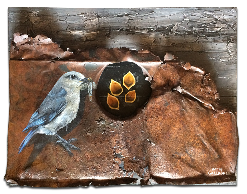 """""""Feeding Time"""" Rusted metal with hole and acrylic painting of bl"""