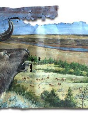 Bull elk bugling over Missouri Breaks on large piece of rusty metal
