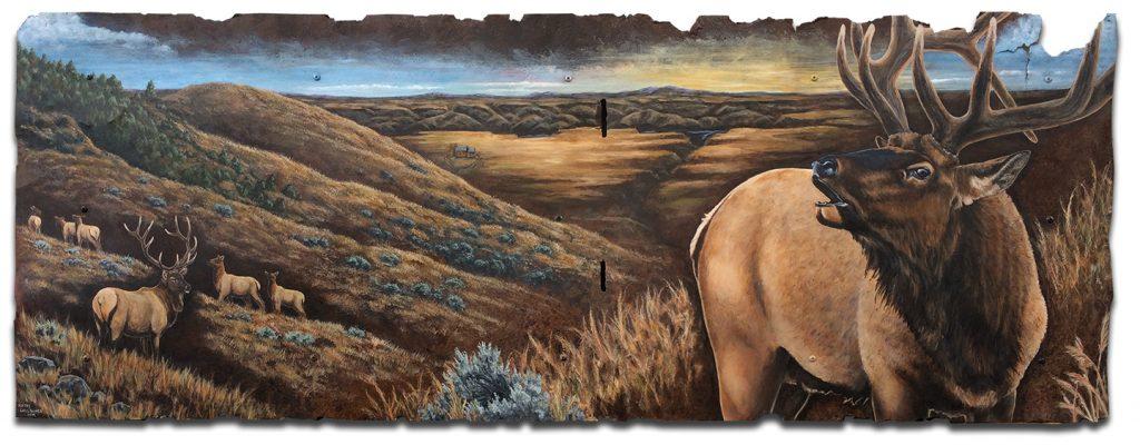 "66"" x 24"" Missouri Breaks bull elk scene"