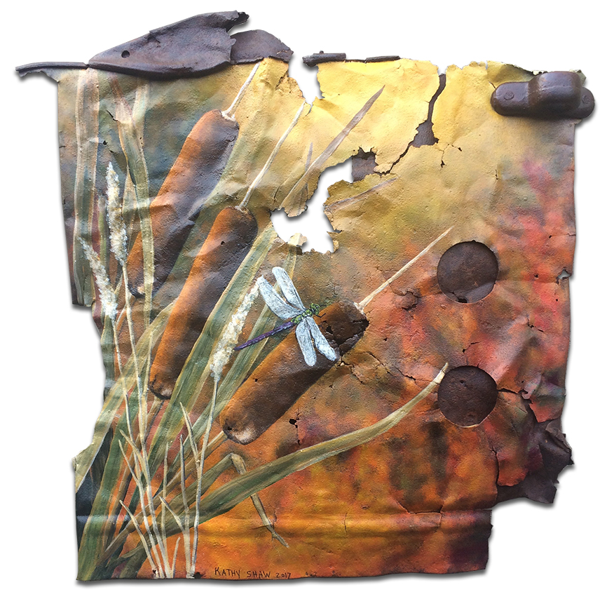 Rusted metal with cattails and dragonfly
