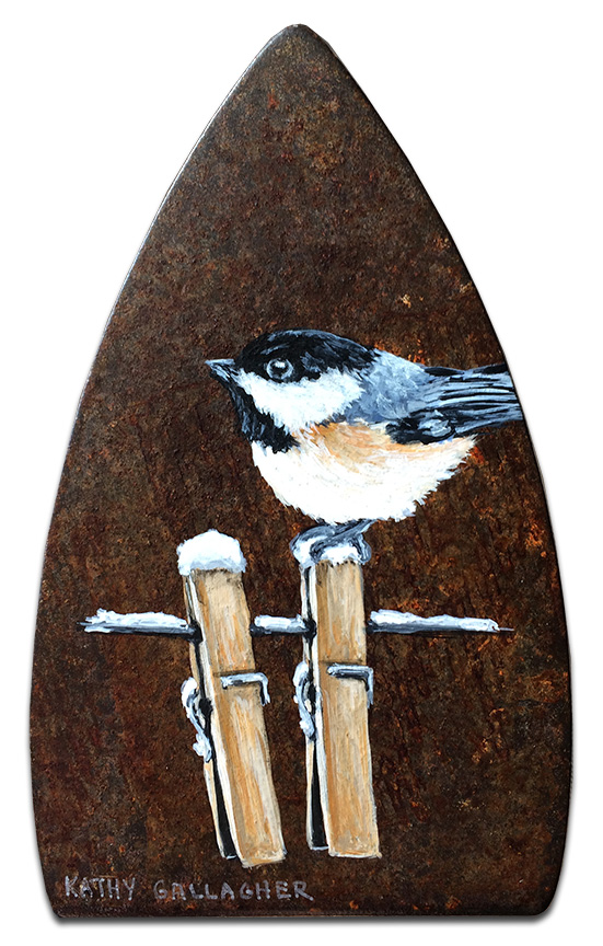 Chickadee on clothes line painted on old iron