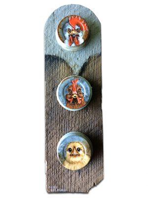 "Chicken family on mason jar lids mounted on old shingle - 5"" x 15"""