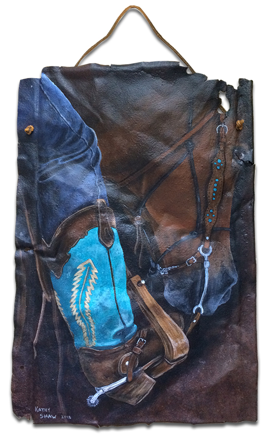 Cowgirl boots and horse on rusted metal
