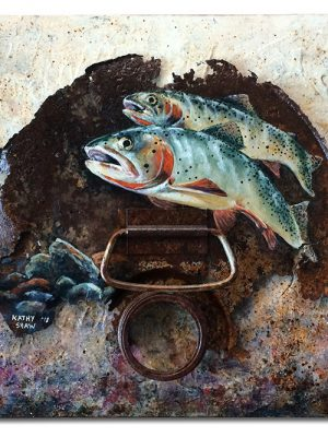 """Cutthroats painted on rusted lid  on textured board - 16"""" x 20"""" x 1"""""""