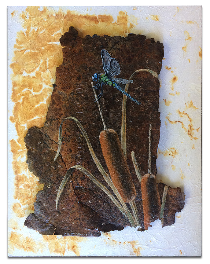 """metal-Cattail and dragonfly on rusted metal with rust dyed paper - 14"""" x 18"""" x 1"""" art-dragonfly-cattails"""