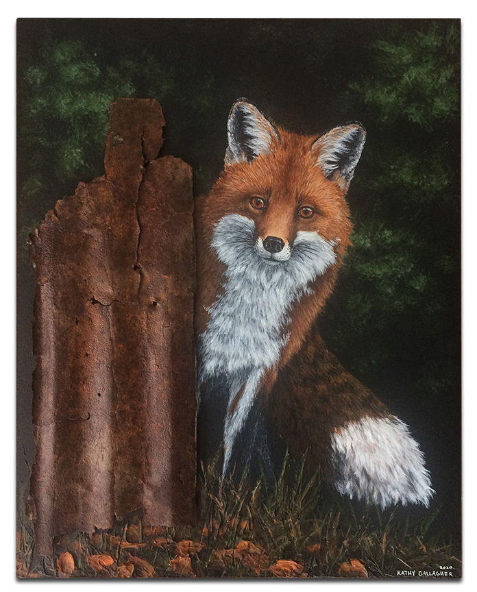 """Red Fox with rusted metal stump 16"""" x 20"""" x 1.75"""""""