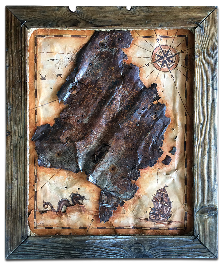"""Framed rusted metal painted as an old map - 24"""" x 29"""""""