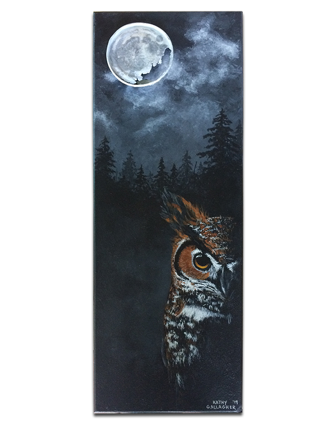 """Rusted metal lid as moon and acrylic painting of great horned owl at night - 7"""" x 19"""""""