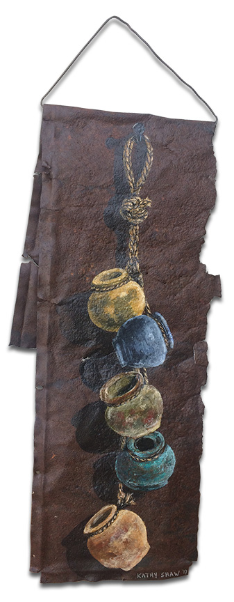 Rusted metal with hanging pots