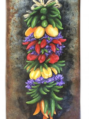 """Galvanized metal with hanging vegetables - 6.6"""" x 15.5"""""""