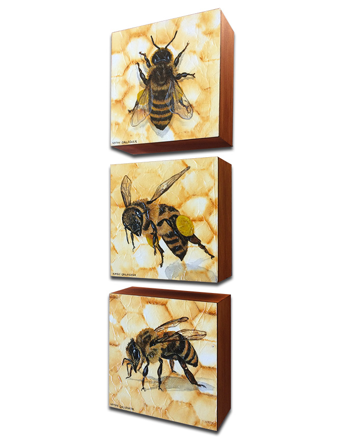 """Rust dyed paper from chicken wire with honeybees - Set of 3 on 5"""" x 5"""" x 2"""" boards"""