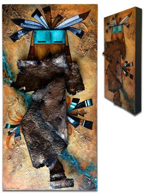 """Kachina with rusted metal on textured board - 12"""" x 24"""" x 2"""""""