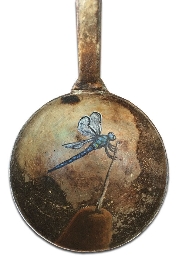 Dragonfly on old metal ladle