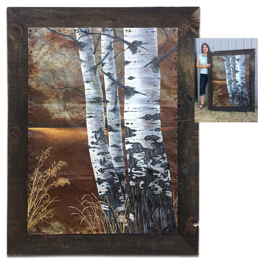 "46"" x 60"" barnwood frame with galvanized metal with aspen trio"