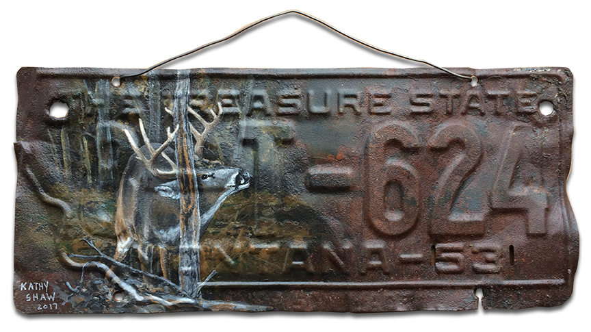 1953 Montana license plate with whitetail deer