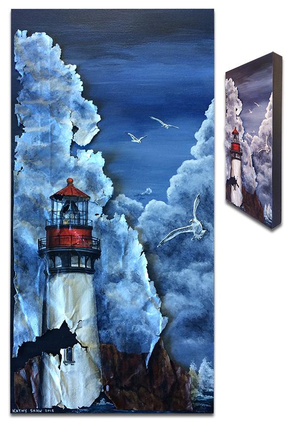 "Lighthouse on metal 12"" x 24"" x 2"""