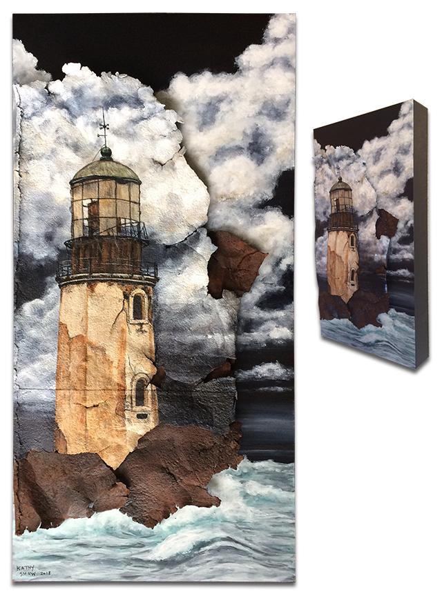"Abandoned lighthouse on metal - 10"" x 20"" x 2"""