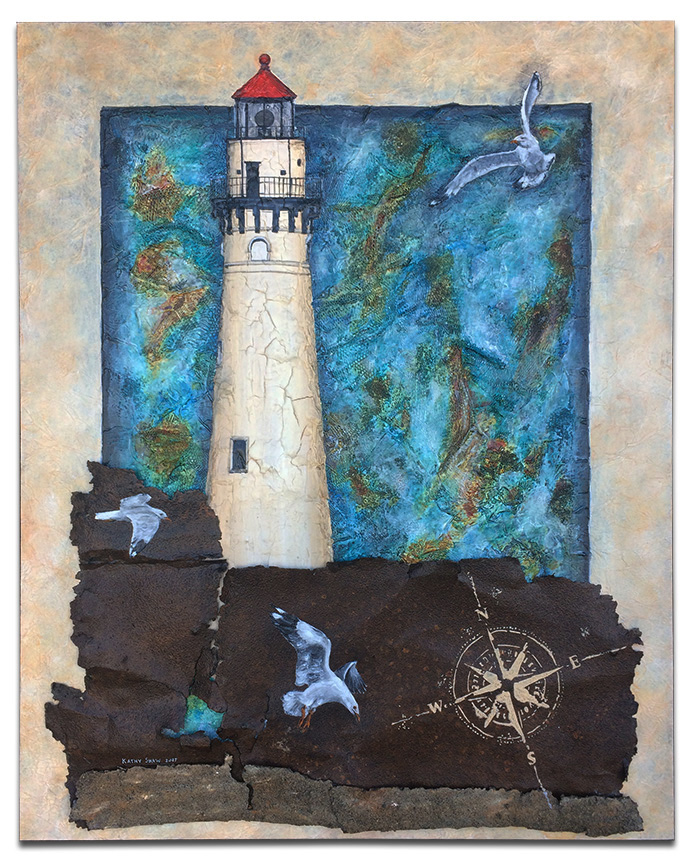 """Lighthouse and seagulls on textured board with rusty metal - 24"""" x 30"""" x 2"""""""