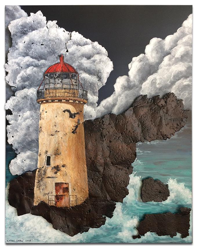 "Abandoned lighthouse on metal - 14"" x 18"" x 1"""