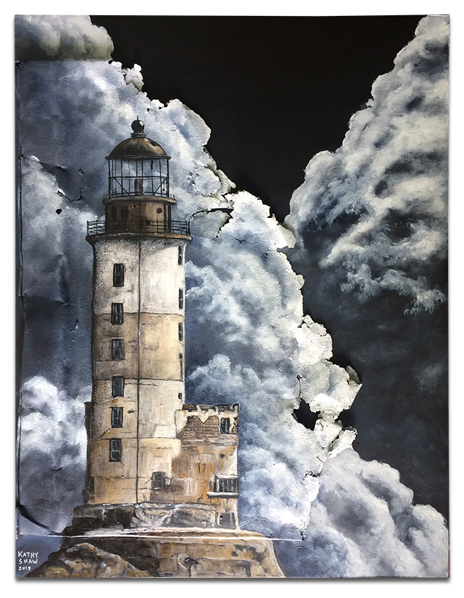 """Abandoned lighthouse on rusted metal - 14"""" x 18"""" x 2"""""""