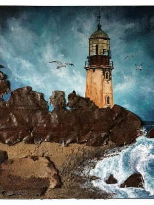 """Abandoned lighthouse and rusted metal as rocks - 16"""" x 20"""" x 1"""""""