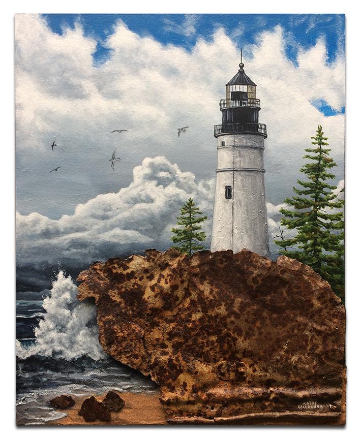 "Lighthouse on metal rocks with sand 16"" x 20"" x 1.5"""