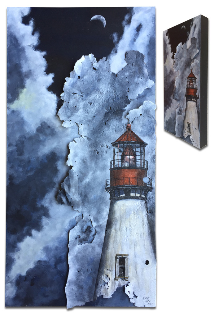 """Lighthouse on rusted metal - 12"""" x 24"""" x 2"""""""