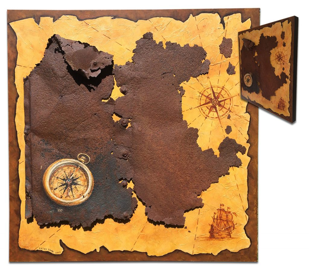 """Painted antique map and metal for an island - 24"""" x 24"""" x 2"""""""