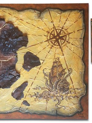 """Antique map with Kraken and ship and rusted metal for islands - 11"""" x 14"""" x 2"""""""