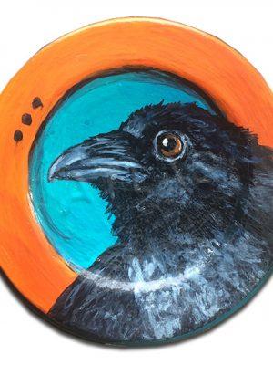 Raven on old mason jar lid