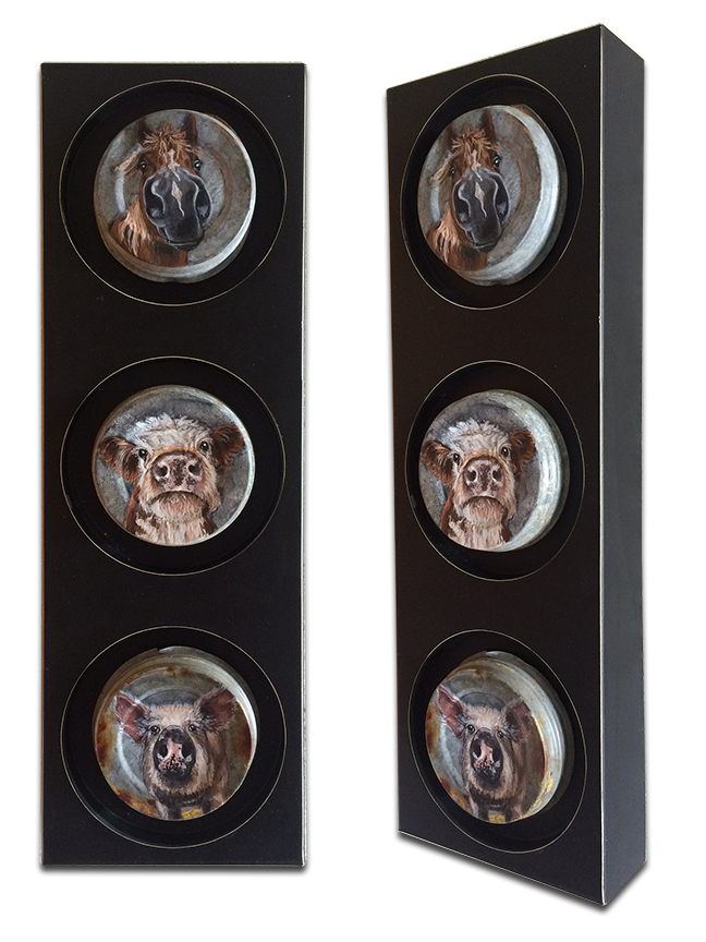 """Horse, cow and pig on large mason jar lids on metal candle holder - 5.75"""" x 17.5"""" x 2"""""""