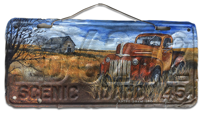 1945 Ford Pickup on old Idaho license plate