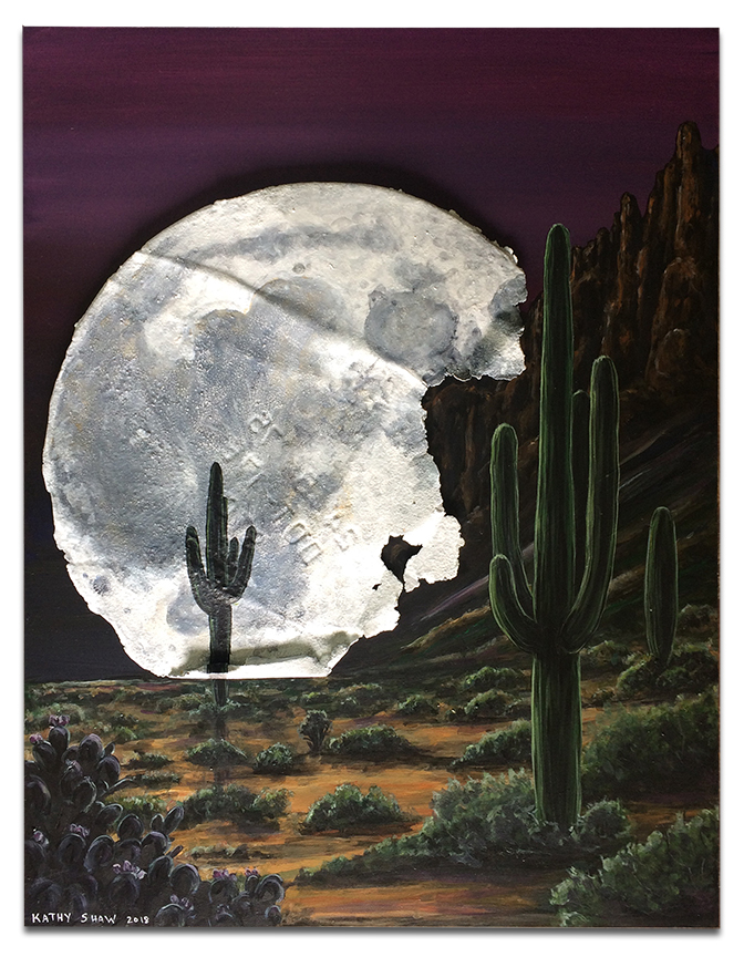 """Rusted metal moon with cactus scene - 14"""" x 18""""x 1"""""""