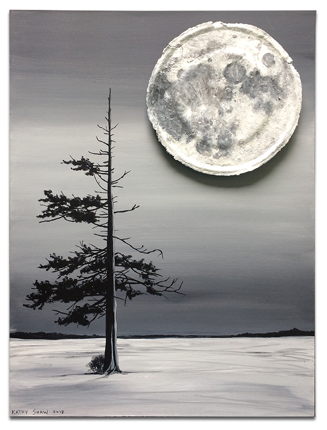 """Moon on rusted lid with lone tree - 12"""" x 16"""" x 1"""""""