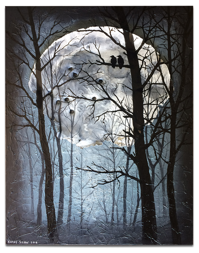 """Rusted metal lid as moon with trees and ravens - 14"""" x 18"""" x 1"""""""