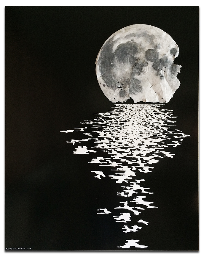 """""""Reflection"""" Rusty lid for the moon with water reflection - 24"""" x 30"""" x 2"""""""