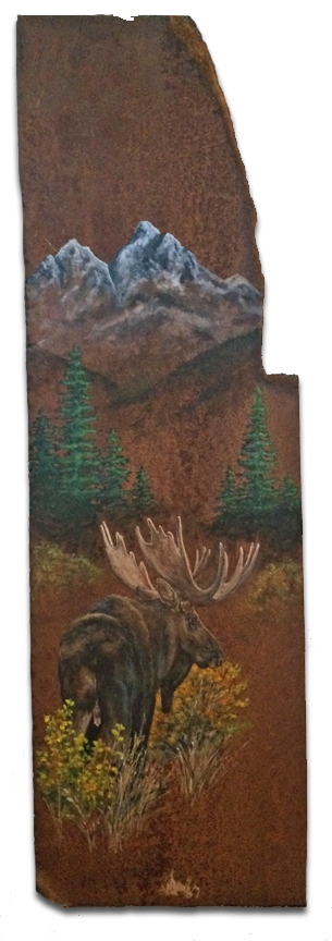 Big piece of rusted metal with moose scene