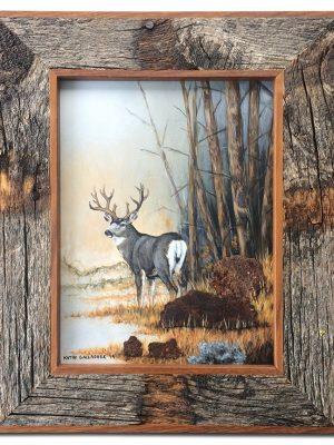 """Muledeer with metalMuledeer with metal rocks in barn wood frame 7"""" x 11"""" rocks in barn wood frame 8"""" x 10"""""""